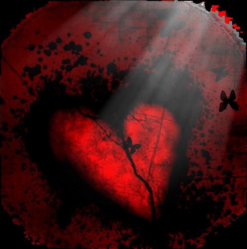 Encré dans un fond noir coeur rouge