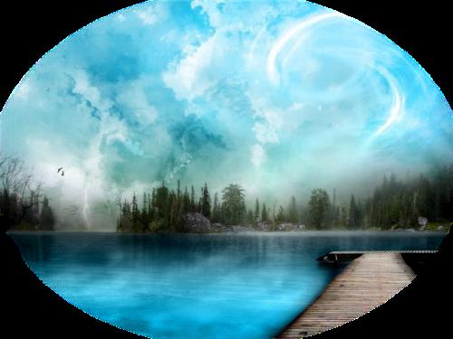 Paysage montage arbres lac