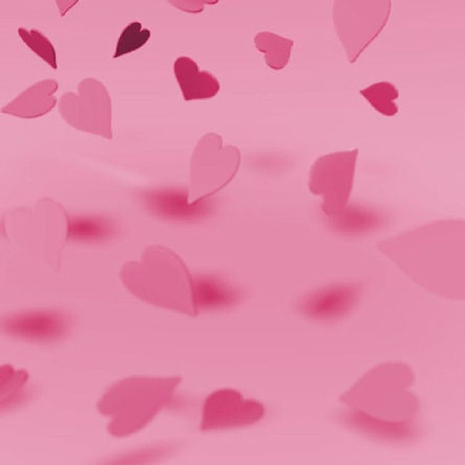 Fond Rose avec tombé de Coeur