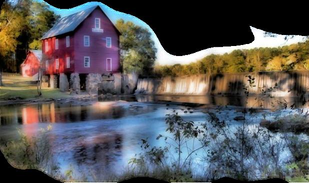 maison au bord d'une cascade